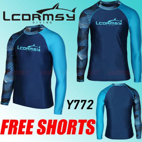 Free Short Men/'s Rash Guard Beach à manches longues surf Wetsuit Swim Top Shirts Y 772