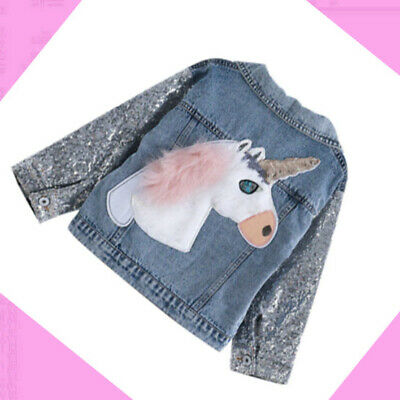 Unicorn Jean Jacket for Girl Coat with Sequin Sleeve Children Clothing Girls Clothes Denim Jacket /& Coats for Kids Outerwear
