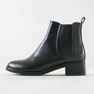 Womens Black Plain Chelsea Boots Elastic Band Ankle Boots