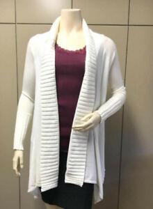 db6f0f1b5cca16  166 BCBG WHITE RIBBED (SEE40560) KNIT CARDIGAN WRAP SWEATER TOP NWT ...
