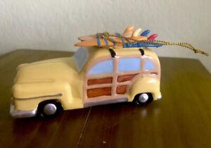 Kurt-Adler-Ceramic-Car-Hanging-Christmas-Ornament-Woody-Surfing-Wagon-Surfboards