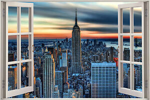 New york scene window view colour wall art canvas framed for Building sans fenetre new york