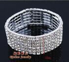 Best Gifts Chunky Women Crystal Stretch Elastic Rhinestone 6 Row Bangle Bracelet
