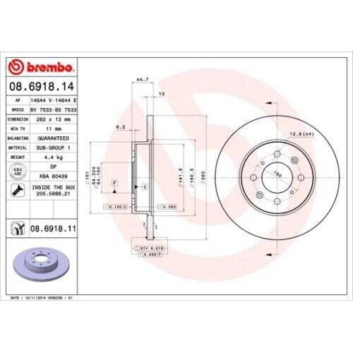 08.6918.11 2x disque de frein frein neuves Brembo