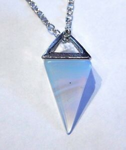 Opalite pendulum necklace stone crystal opalescent point charm moon image is loading opalite pendulum necklace stone crystal opalescent point charm aloadofball Gallery