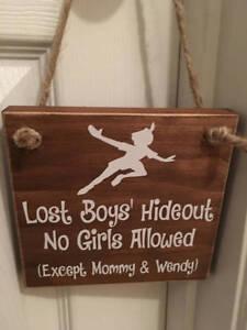 Lost Boys\' Wooden Peter Pan Nursery Boy\'s Room Door Sign | eBay