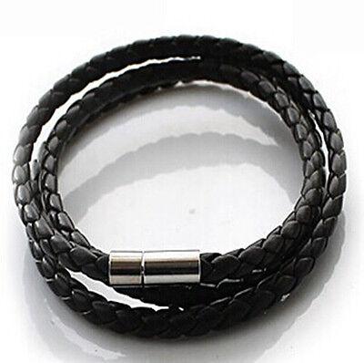 Womens Mens Black Leather Interlaced All Match Bangle Wristband Bracelet