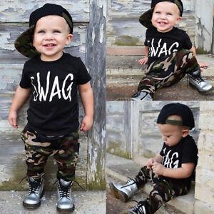 Fashion Toddler Kids Baby Boy Tops T-shirt+Camo Pants 2Pcs Outfit ... 06be96d6a