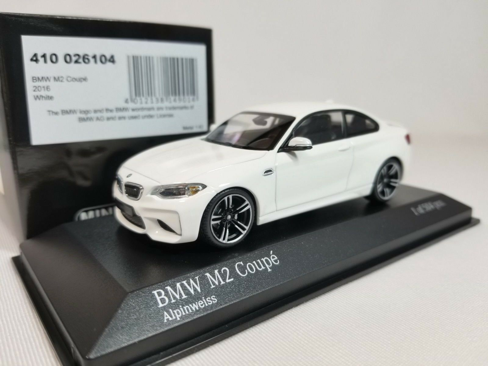 1 43 Minichamps BMW M2 Coupe F87 2016 M 2 Series F22 Twin Turbo I6 biancao Alpino