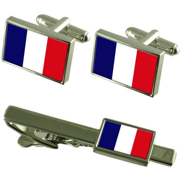 Französisch Guayana Flagge Manschettenknöpfe Clip-krawatte Passende Box