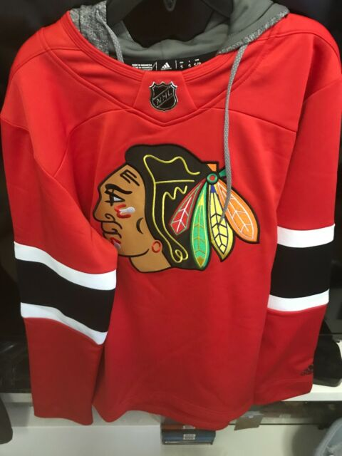 BNWT Adidas Chicago Blackhawks Jersey Pullover Hoodie Red Mens Small  100  678FA 34f2617bd