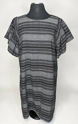 Anthropologie Womens Moon River Denmark Striped Shirt Dress Ruffle Sleeve Medium Ebay