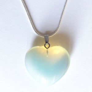 """Opalite Crystal Pear Pendant 15mm 18"""" 925 Sterling  Necklace Meditation Healing"""