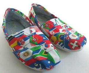 TOMS-World-Flags-Classics-Womens-Size-5-Slip-On-Flats-Loafers-Comfort-Shoes