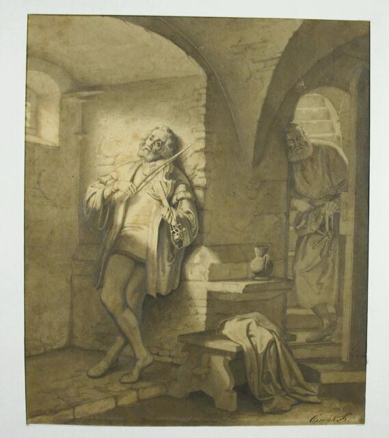 Frantisek Cermak (1822-1884) Drawing Czech 1870 Dalibor choose Violin Bohemian