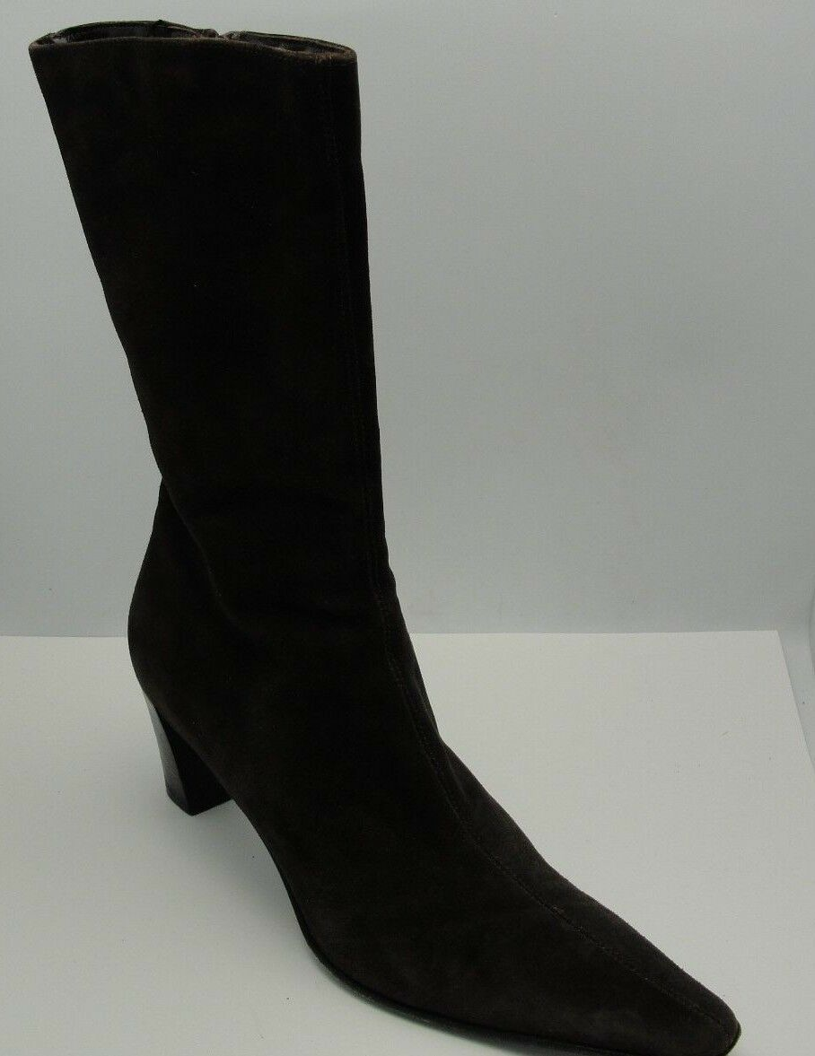 AQUATALIA Marvin K Choc Brown Suede Pointy Toe Mid Calf BOOTS Women's 11 Italy
