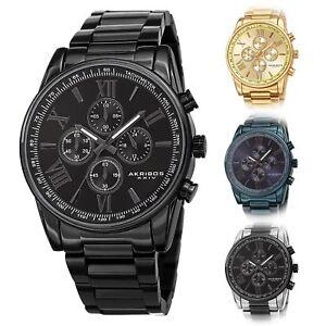 Men-039-s-Akribos-XXIV-AK1072-Quartz-Chronograph-Stainless-Steel-Bracelet-Watch