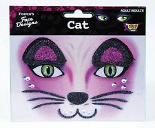 Glittered Rhinestone Cat Face Design Art Self Adhesive Stickers Decor Makeup