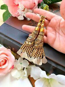 1 Pair Latest Indian Gold Bead three tier Cluster Latkan Sari Blouse Duppata