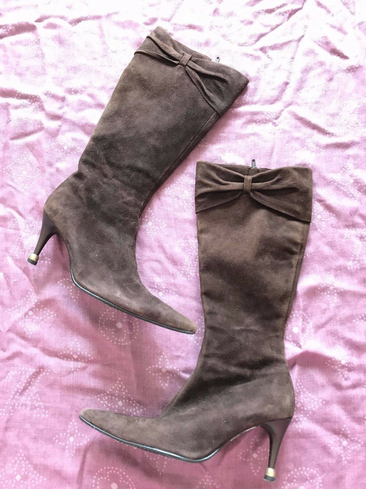 Australia VAGO Premium SUEDE Pelle Knee-High BOW Zip BOOTS w/INSOLIA shoe heel
