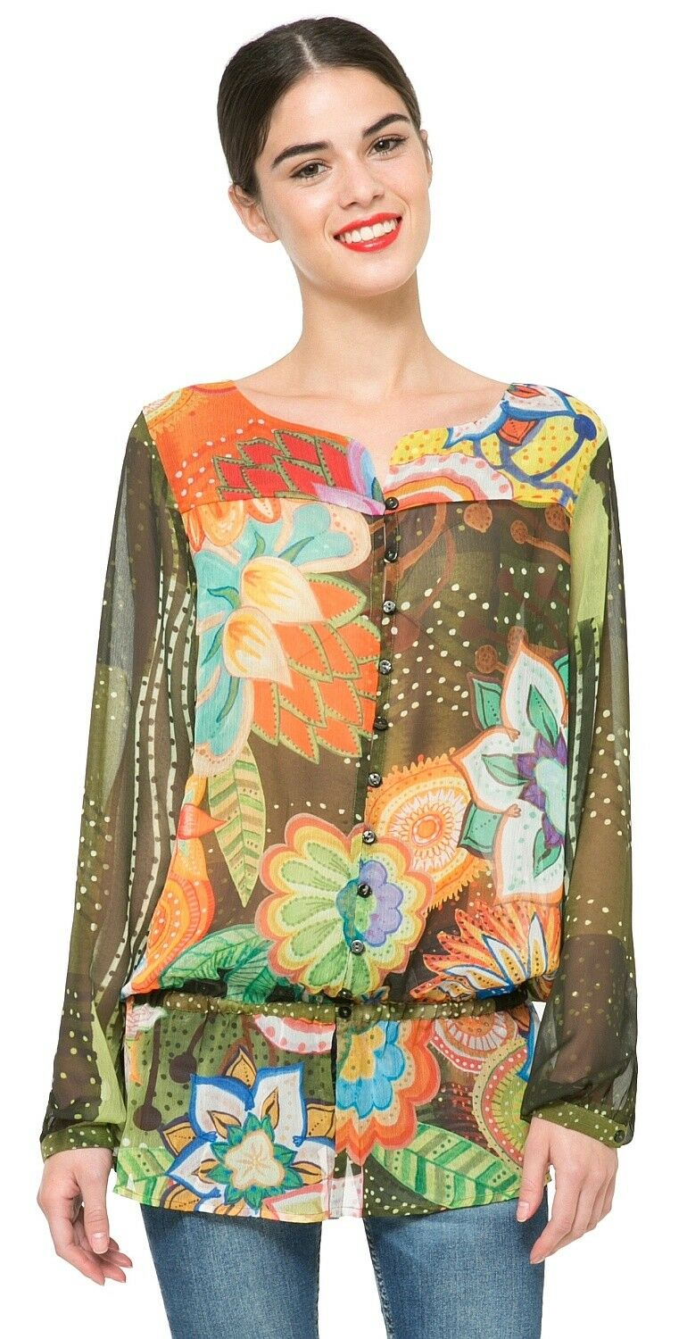 Desigual brand. Farbeful button-up blouse. Long sleeve. US Größe extra large.