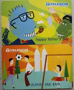 Malaysia Used Phone Cards - 2 pcs Happy Father's Day