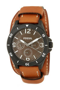 NEW-FOSSIL-BLACK-TONE-BROWN-LUGGAGE-CUFF-BAND-MULTIFUNCTION-WATCH-BQ2054