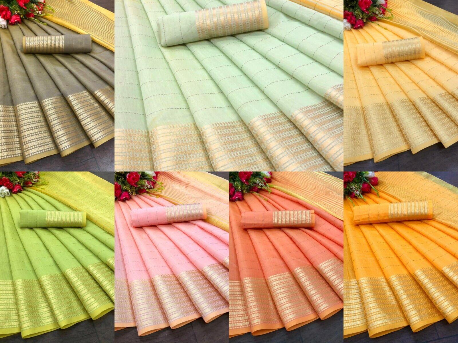 Indian Designer Cotton Silk Saree Wedding Ethnic Banarasi Silk Woven Sari Blouse