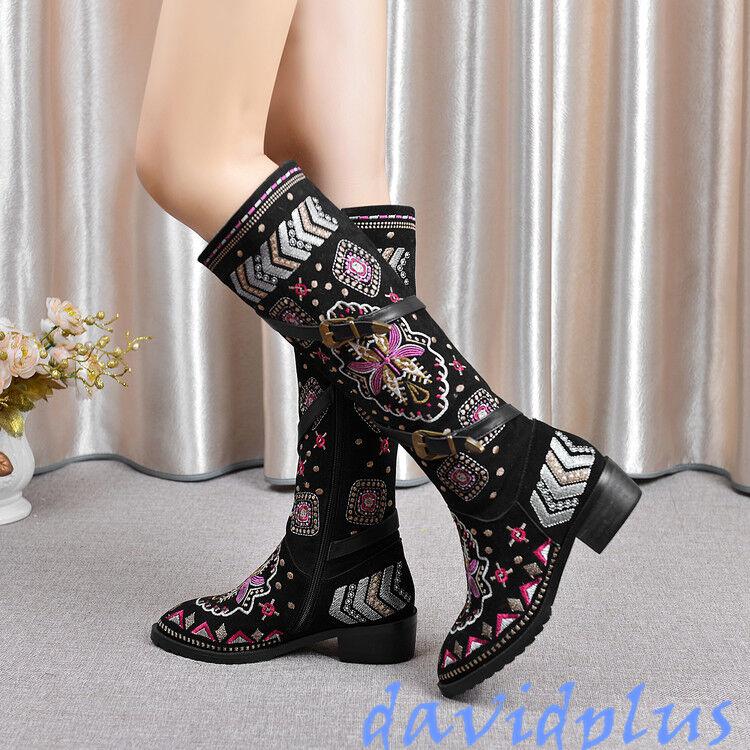 Mujeres Moderno bordar la rodilla botas botas botas altas Hebilla Cremallera Nuevos Zapatos de tacón cubano étnicos  marca famosa