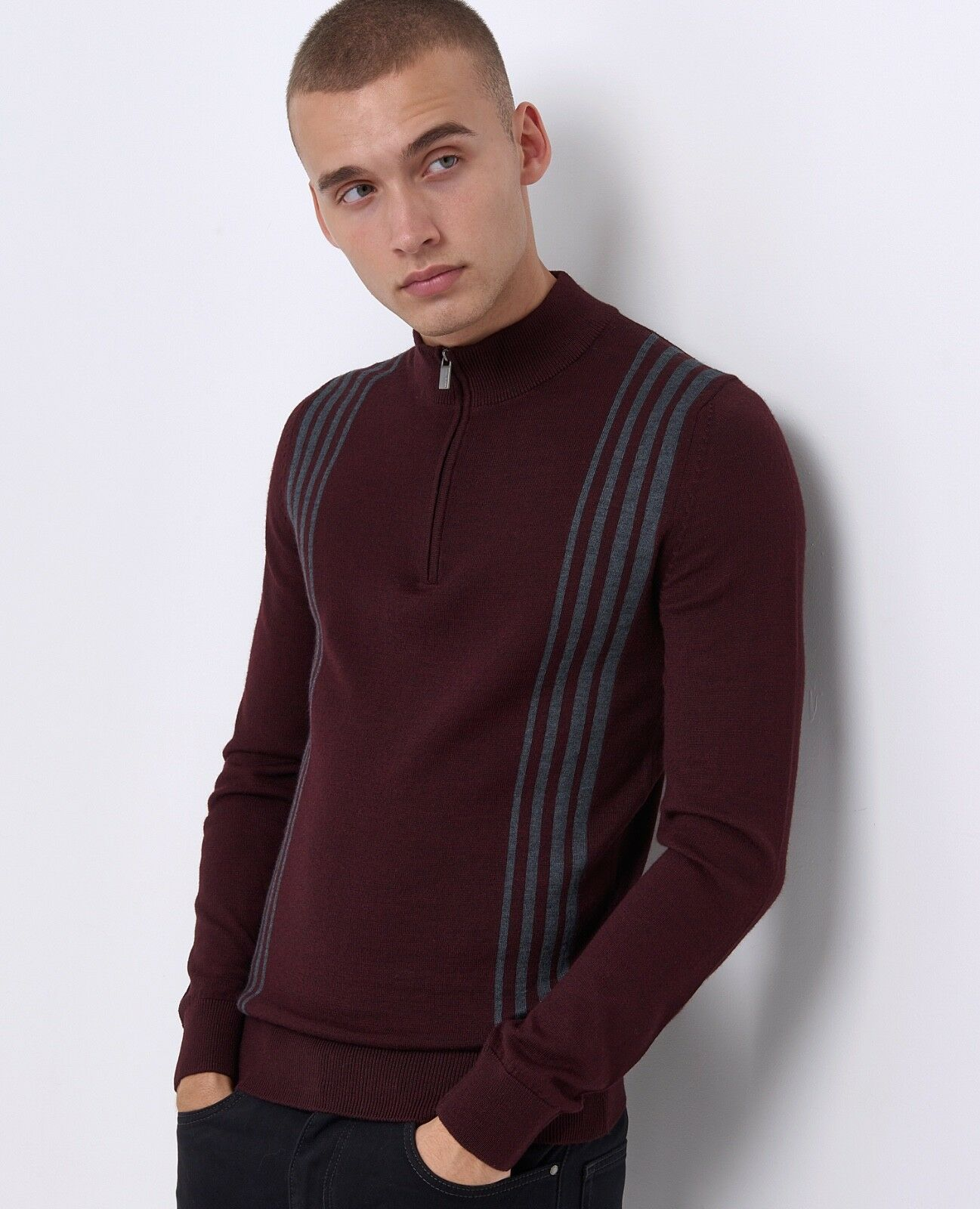 REMUS men® Wool Blend Retro 1 2 Zip Sweater Deep Red - XXL AW18 SALE