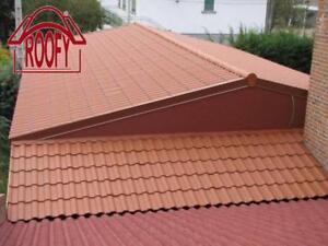 kunststoff dachziegel dachpfannen rundfirst komplettpaket dach f r gartenhaus ebay. Black Bedroom Furniture Sets. Home Design Ideas