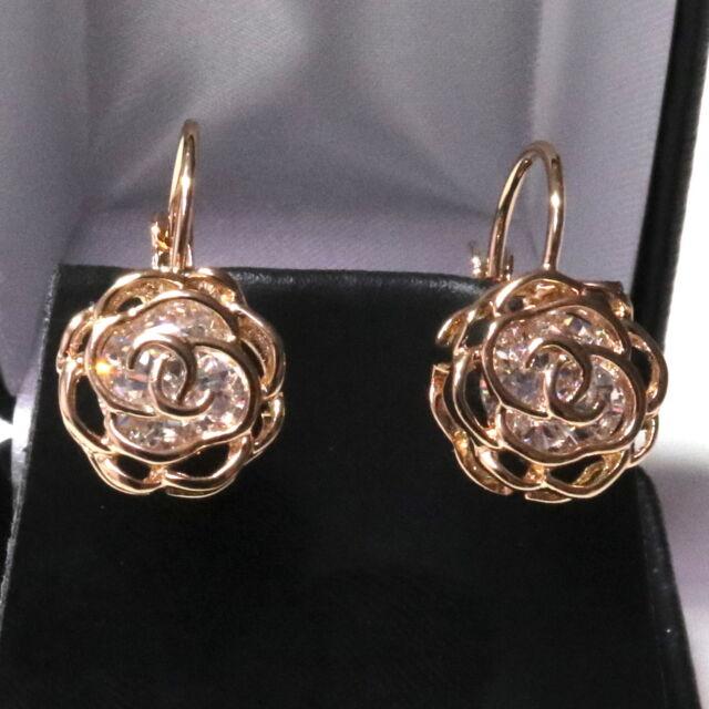 Gorgeous White  Moissanite Flower Earrings Women Wedding Engagement Jewelry