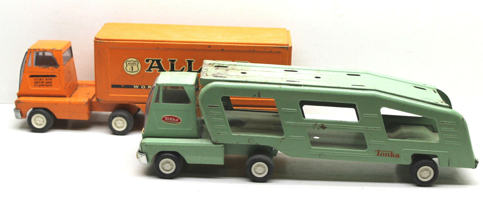 2 PC 1960s Vintage Tonka Chapa de acero Allied Allied Allied Van Lines + Minn EE. UU. coche vehículo 15  6f1bed
