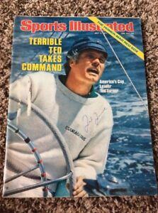 TED TURNER SIGNED Autographed Sports Illustrated 1977 Braves CNN COA