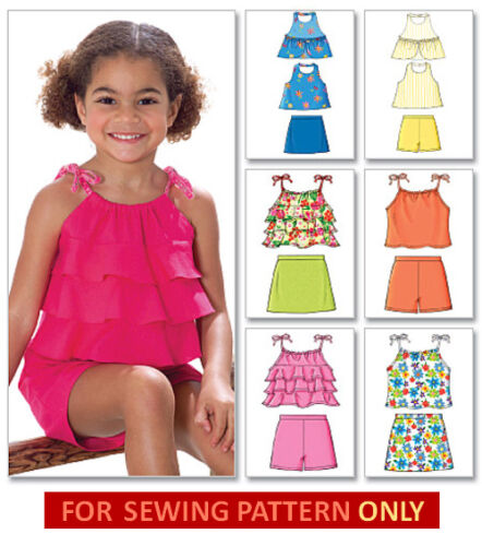 SEWING PATTERN SIZES 2 TO 8 MAKE GIRLS  SUMMER TOPS~SKORTS~SHORTS CLOTHES