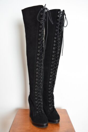 ALDO thigh high boots black leather suede lace up