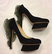 NICHOLAS KIRKWOOD black suede ruffle platform heels pumps IT 38 / UK 5 / US 8