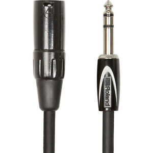 Roland-Black-1-4-034-TRS-to-XLR-Male-Interconnect-Speaker-Monitor-Mixer-Cable-5-ft