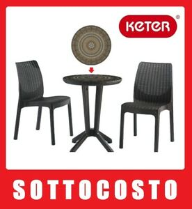 KETER SET SALOTTO TAVOLO MOSAICO 2 SEDIE IN RESINA RATTAN ...