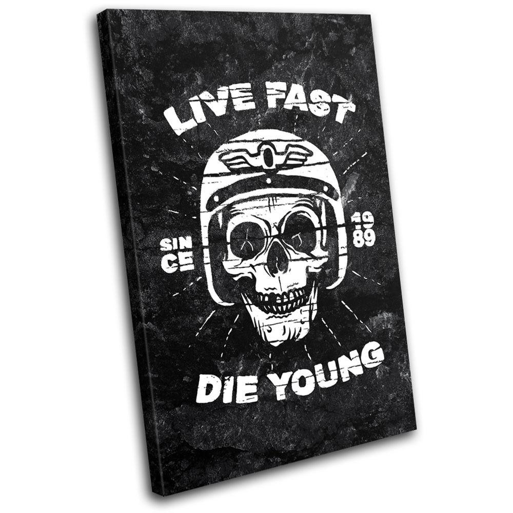 Biker Skull Grunge Transportation SINGLE TOILE murale ART Photo Print