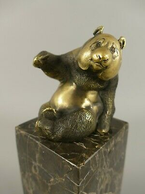 Bronzeskulptur Statue Panda Bär Marmorsockel Bronzefigur  Antik-Sti H.14cm