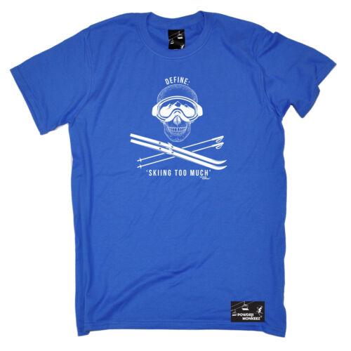 Définir le ski trop Homme poudre MONKEEZ UK T-Shirt Cadeau D/'anniversaire Ski Skieur