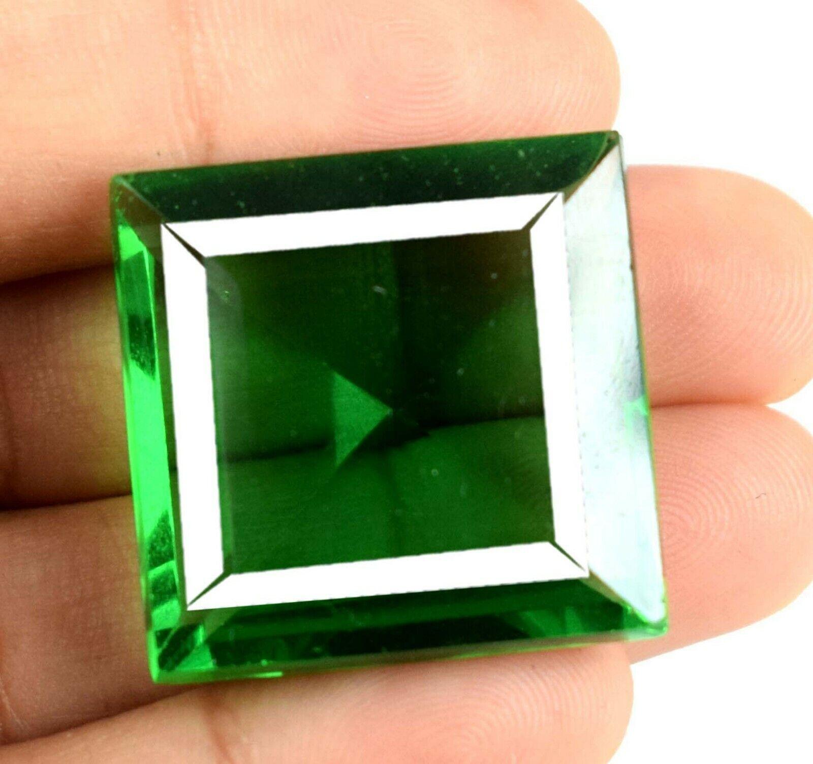 Festivo Sales Verde Tectita Moldavite 57 CT Corte Cuadrado Piedra Certificado