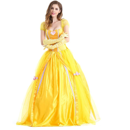 Adult Belle Fancy Dress Up Beauty and The Beast Princess Belle Cosplay Costume U