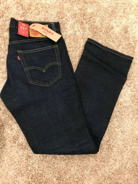 NWT Levis 527 Jeans Mens Slim Boot Cut Many Sizes (with intentional leg frays)