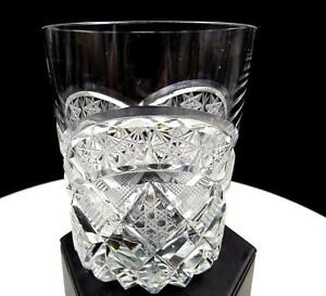BOHEMIAN-CZECH-CRYSTAL-ARCH-STAR-BUTTON-4-034-DOUBLE-OLD-FASHIONED-GLASS