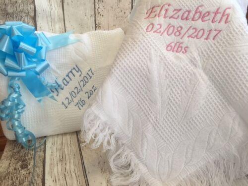 Personalised Baby Shawl Blanket Embroidered Boy Girl Christening Newborn Gift