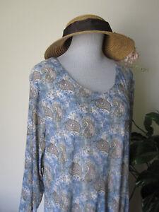 xxl-Sahalie-PALE-BLUE-3-4-Sleeve-Dress-Multi-Color-Paisley-Stretch-KNIT-FLOWY