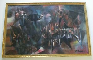 LARGE FISH  Early Modernist CUBIST CUBISM ABSTRACT  MID CENTURY PAINTING 1950'S
