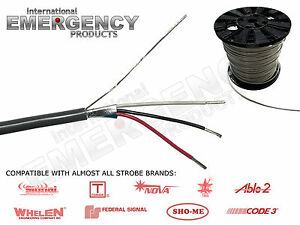 Strobe-Cable-3-Wire-18-AWG-Shielded-for-AMP-Power-Supply-Whelen-Federal-SIgnal